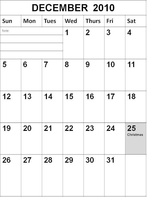 calendar 2010 december. Blank December 2010 Singapore