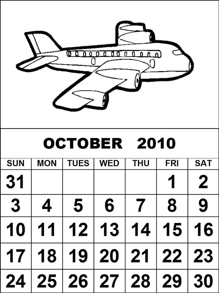 calendar october 2010. Aeroplane calendar 2010