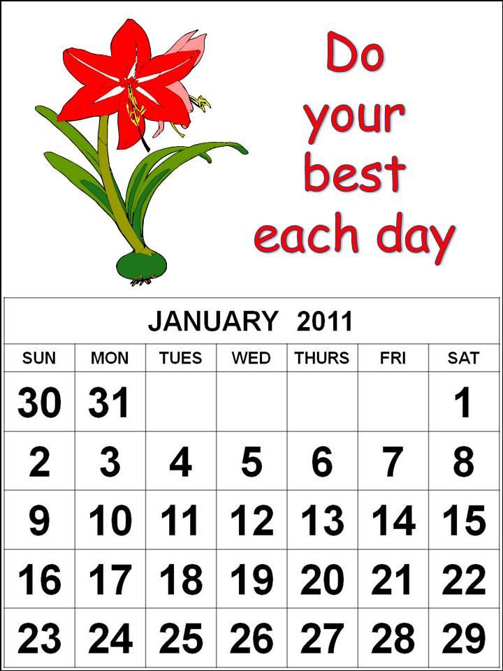 january calendar 2011 template. Flowers January 2011 Calendar