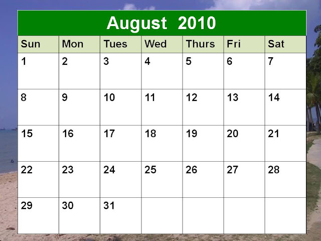 calendar 2010 august. Blank August 2010 Calendar