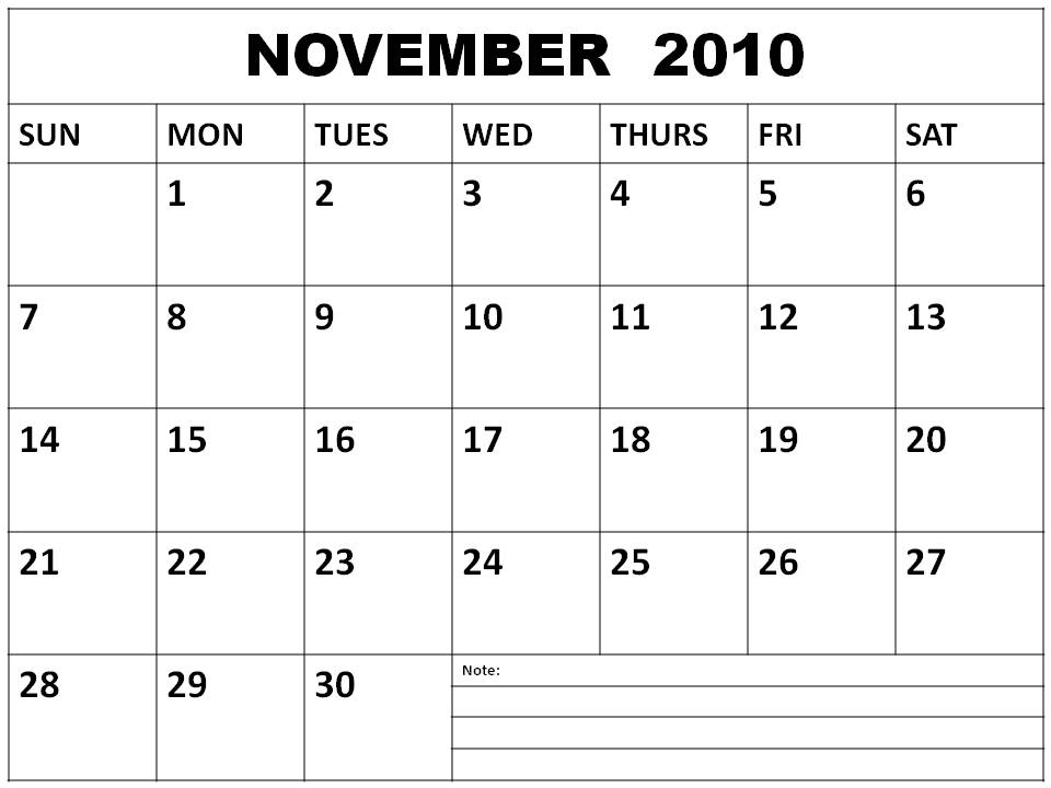 To download and print this Blank November 2010 Monthly Calendar: