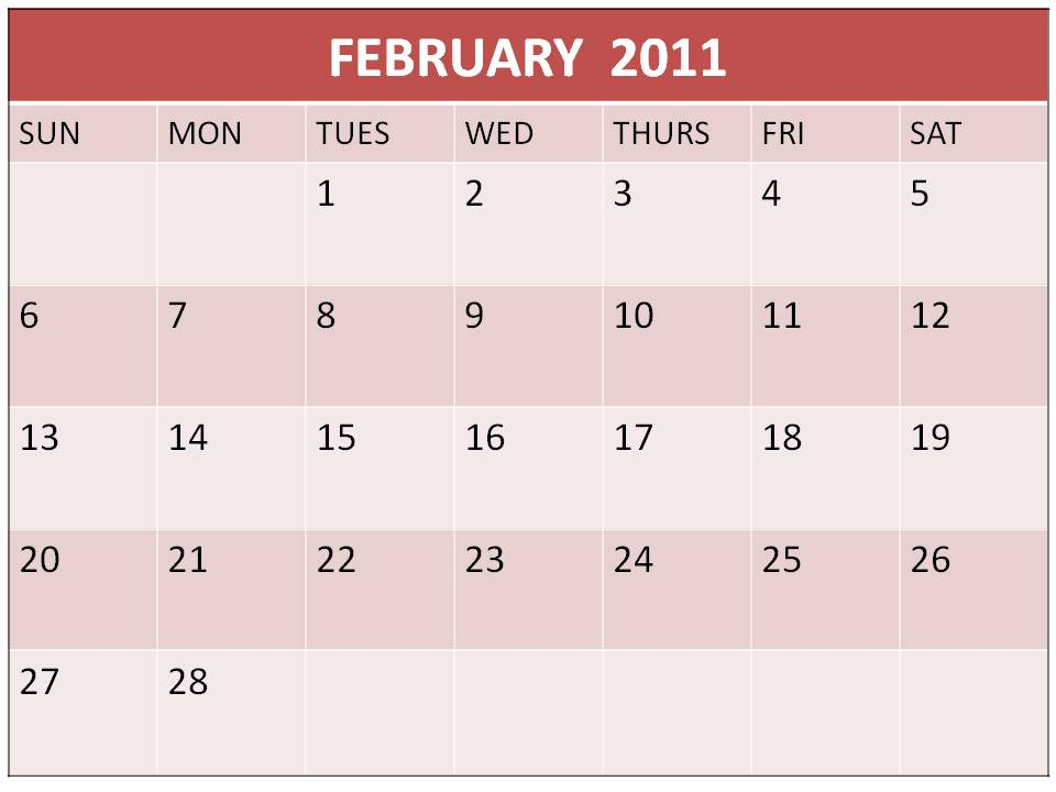 Printable February 2011 Calendar with big fonts and notes