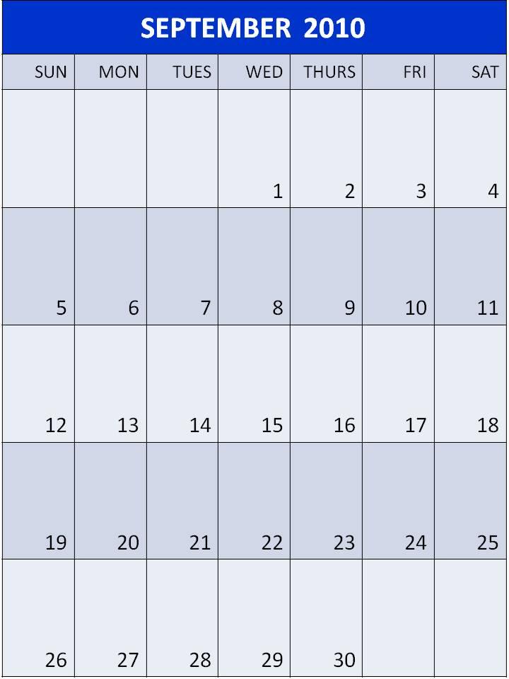 blank calendar 2010. Blank Calendar 2010 September
