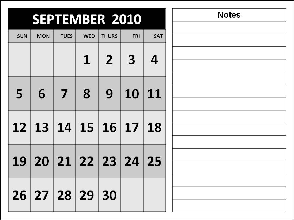 september 2010 calendar. Big Fonts 2010 Calendar for