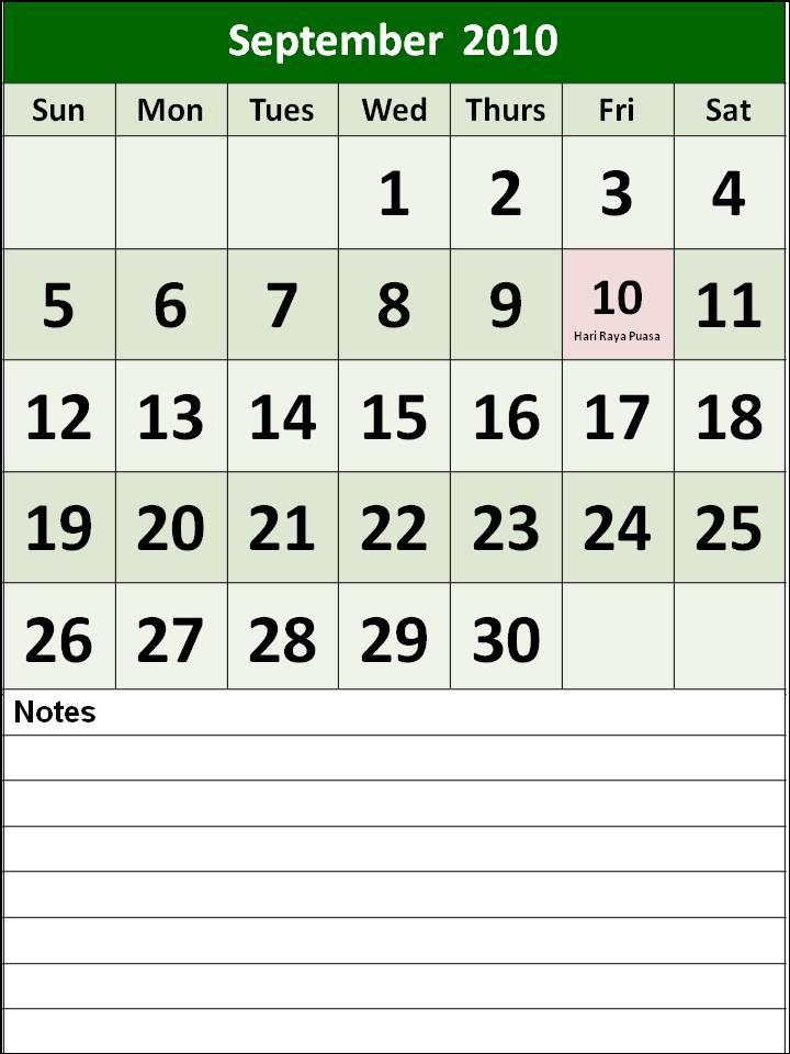 september 2010 calendar. charger police, September