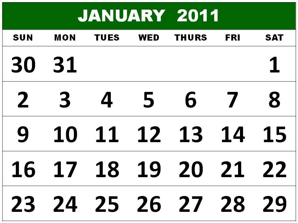Free Big Calendar 2011 January Printable Template
