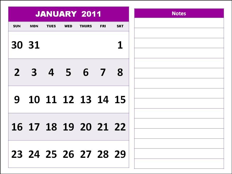 january calendar 2011 template. Free Homemade Calendar 2011