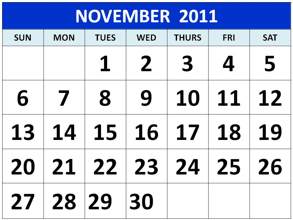 To download and print these Free Big Monthly Calendar 2011 November with big