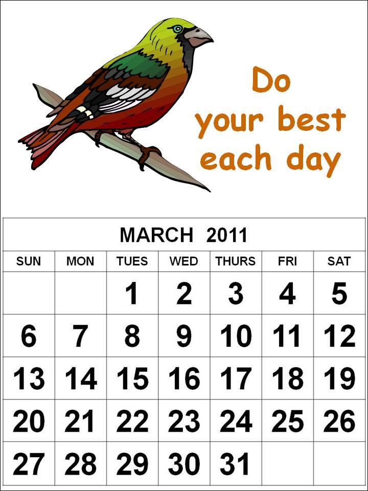 March 2011 Calendar Printable / 2011 March Calendar Design / Simple