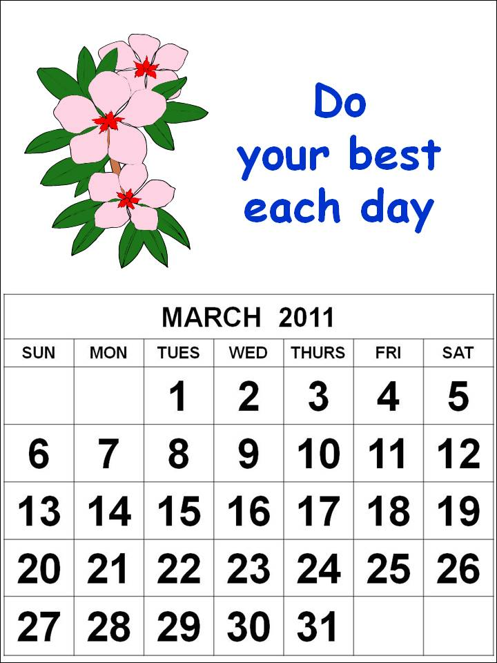 2011 calendar for march. Free Homemade Calendar 2011 March with cute cartoon flowers