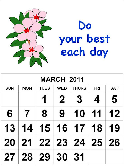monthly calendar march. flowers Monthly Calendar