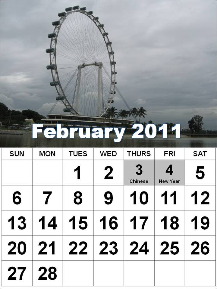 Free Printable Singapore 2011 February Calendar with Holidays (PH)