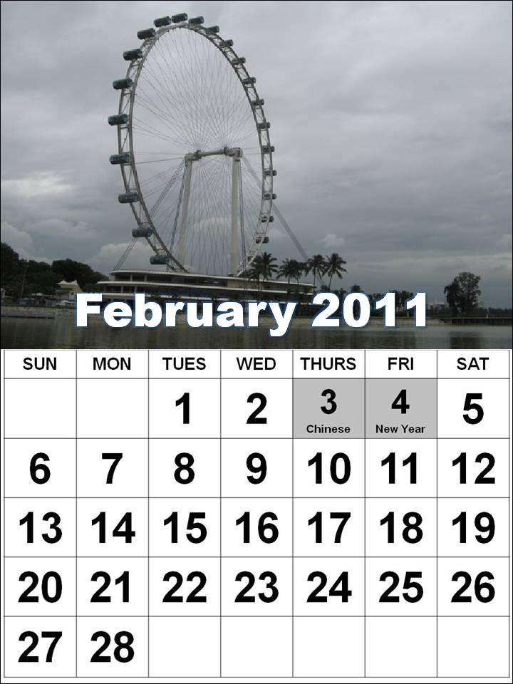 Free Printable Singapore 2011 February Calendar with Holidays (PH)