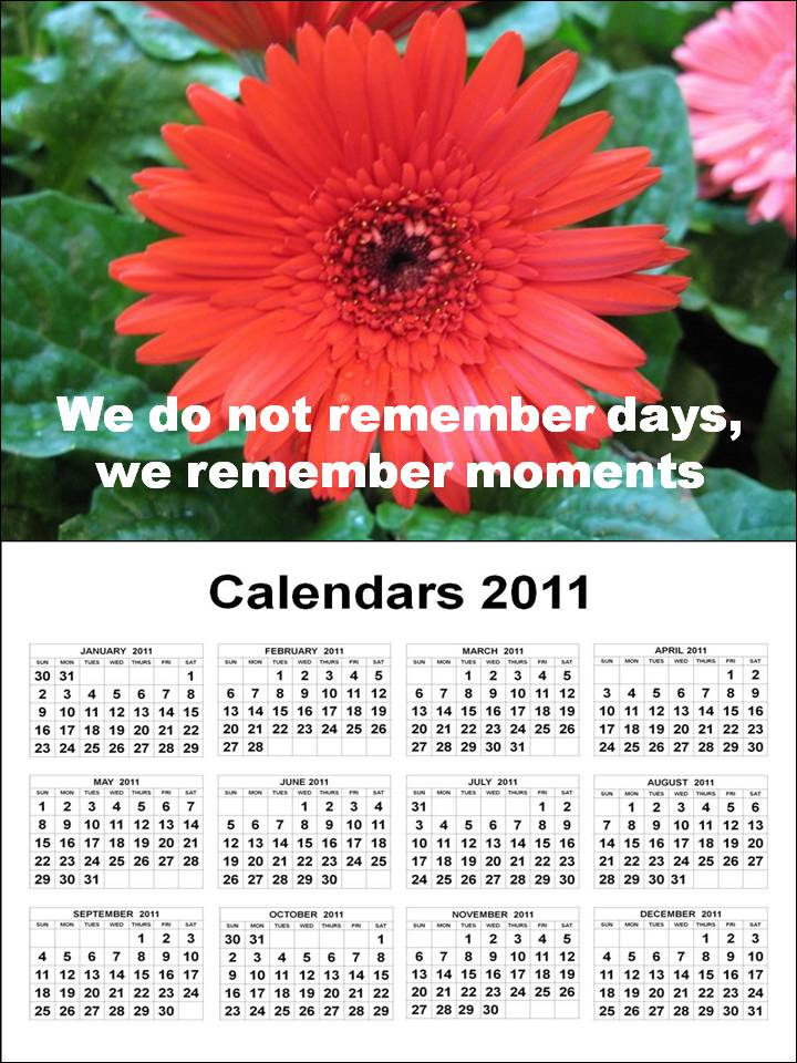 2011 Calendar from January to December 2011 with Friendship Quotes