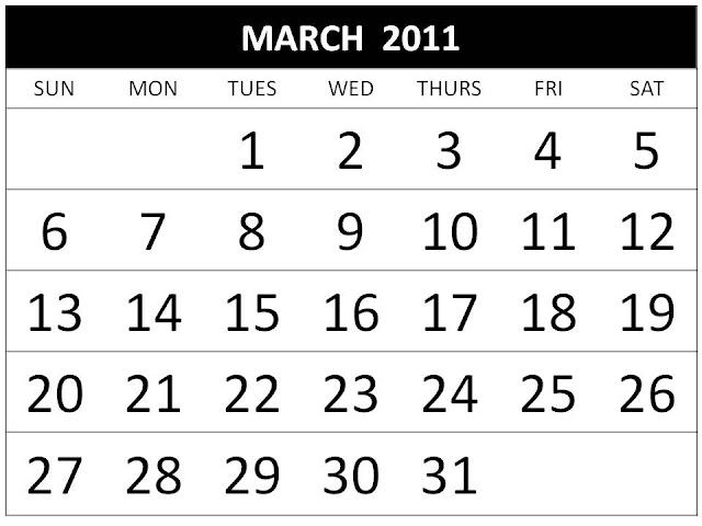 march calendar 2011 holidays. Calendar 2011 March with