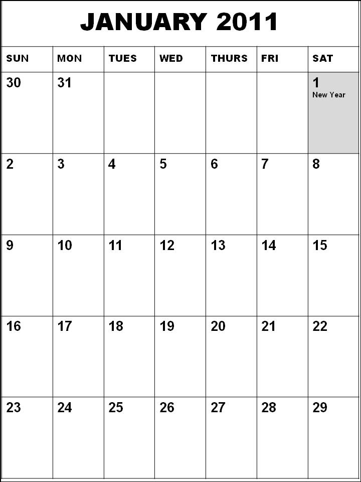 january 2011 calendar with holidays. January 2011 Calendar With