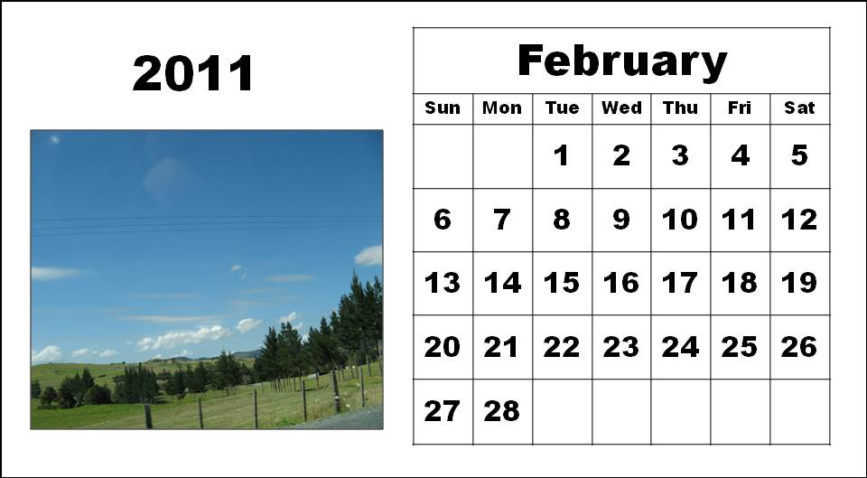 Free Printable February 2011 Calendar with big fonts
