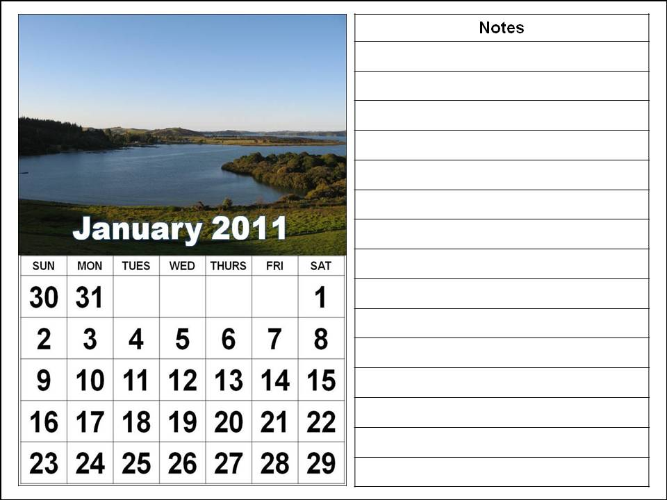 Big Fonts Calendars Jan to Dec 2011 - Vertical