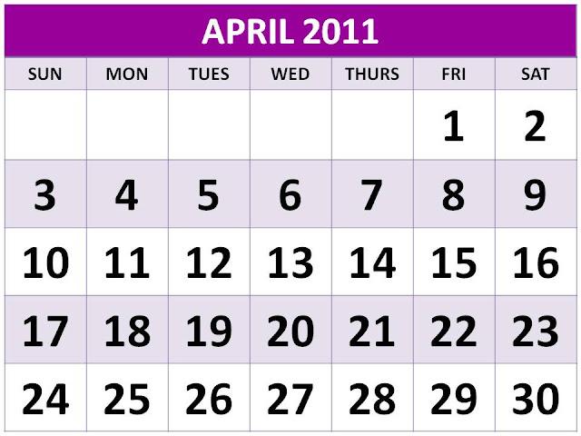 april 2011 calendar with holidays printable. APRIL 2011 CALENDAR with