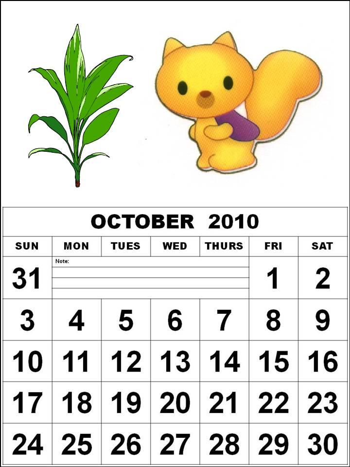 october 2010 calendar printable. October 2010 Calendar with