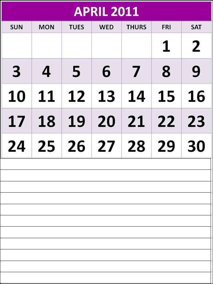 calendar 2011 april printable. Blank weekly calendar with