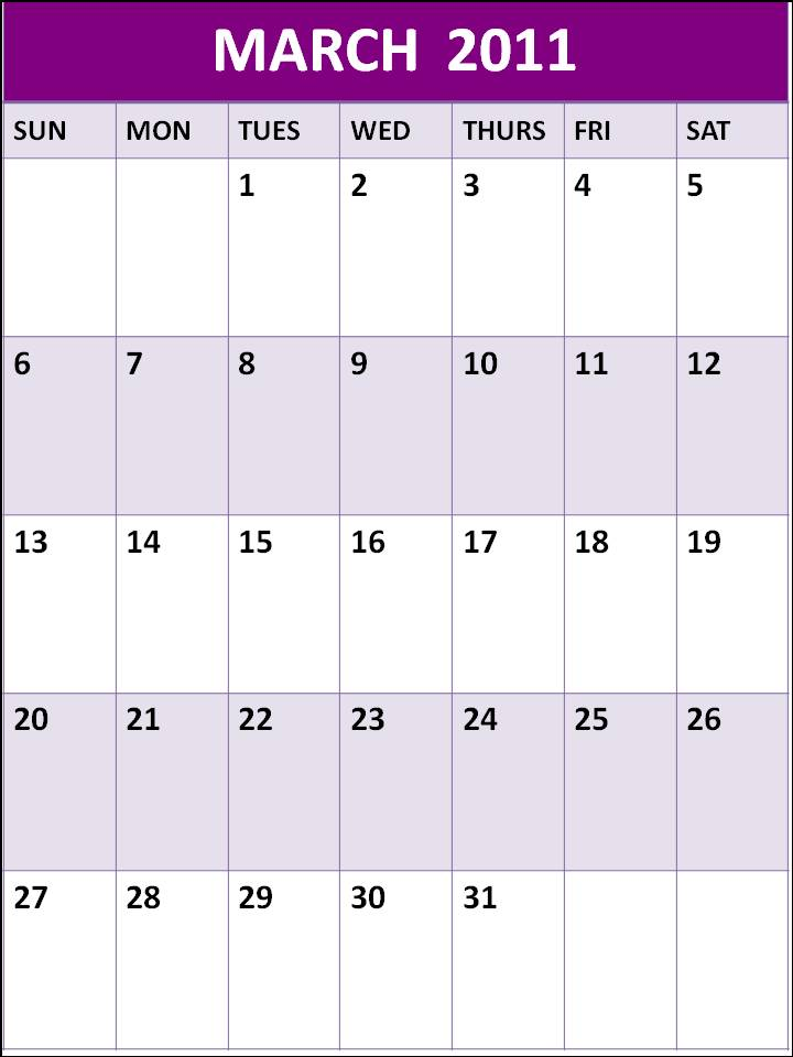 annual calendar 2011 one page. Plain Blank Calendar 2011 June