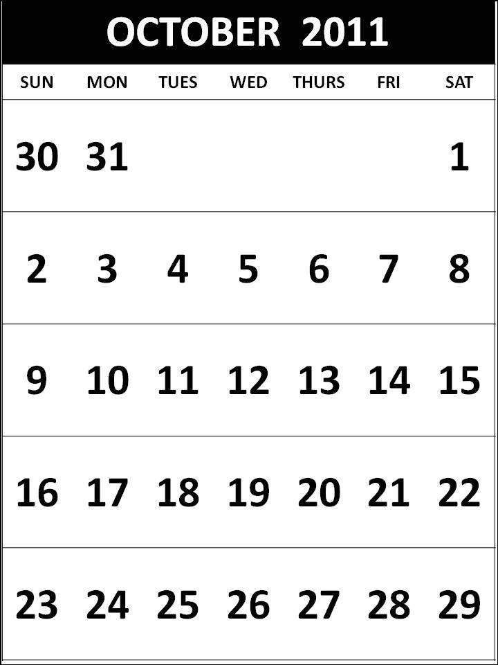 October 2011 Calendar Printable Calendars October 2011