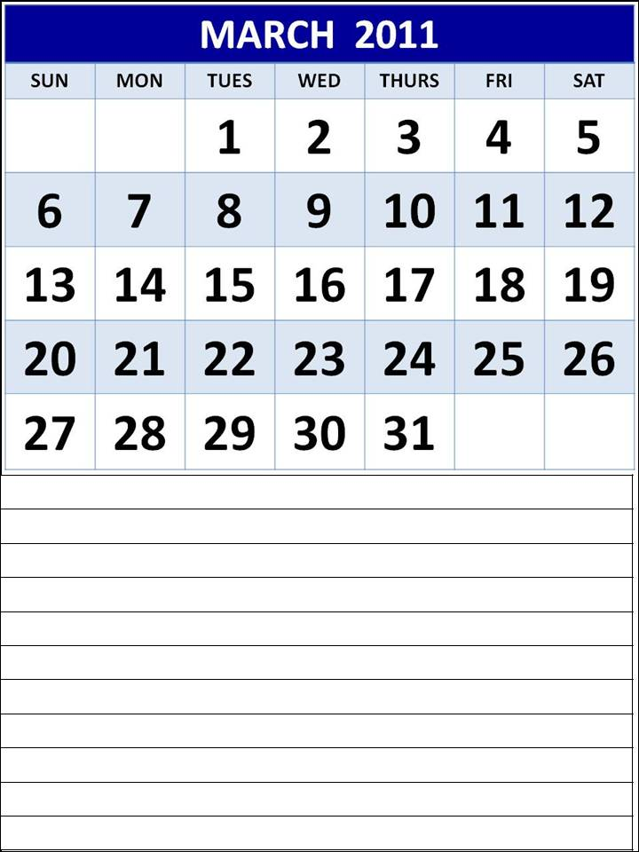 2011 Calendar Template Word. Homemade Printable Calendar