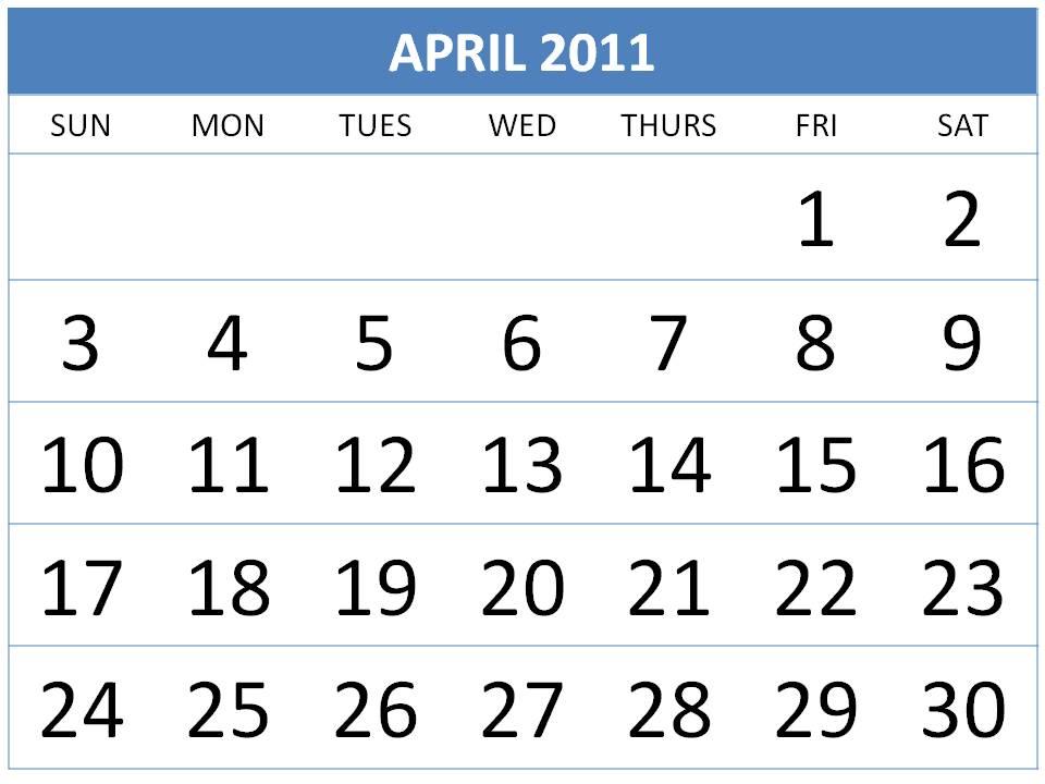 april 2011 calendar. April 2011 Calendar 700x532