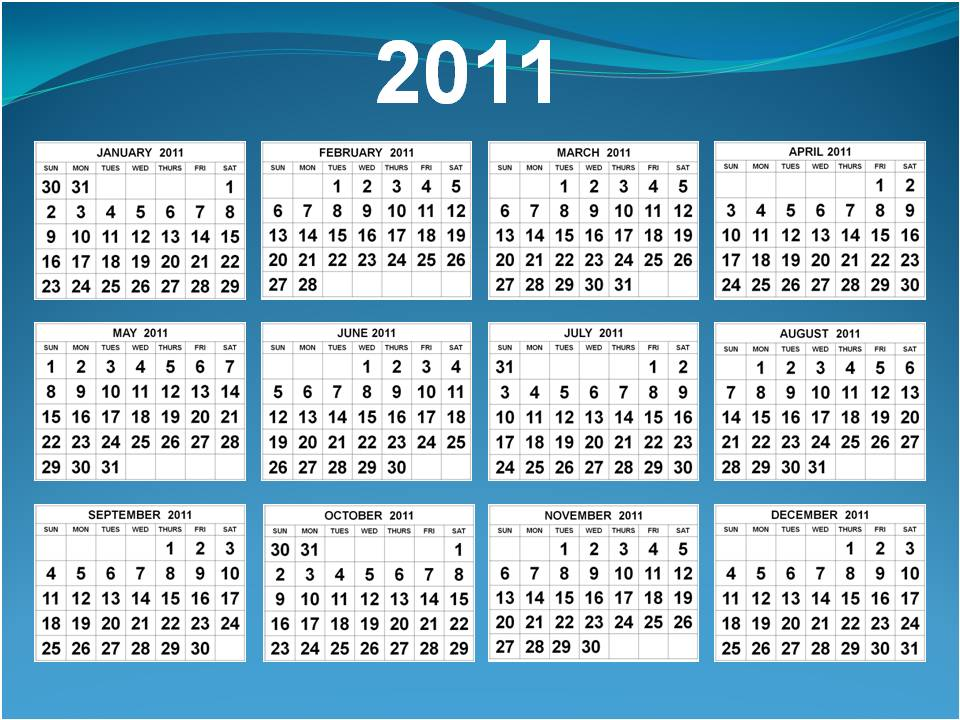 Calendars January to December 2011 in one (1) page A4. To download and print