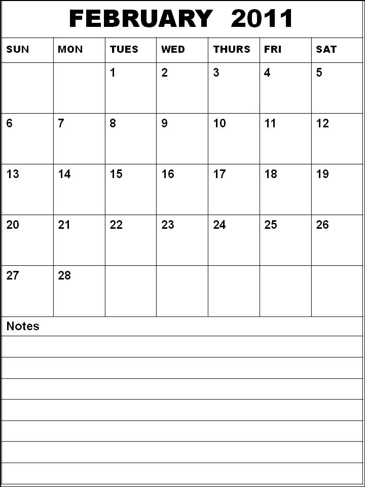 Blank Calendar 2011 February or Blank Planner 2011 February with notes