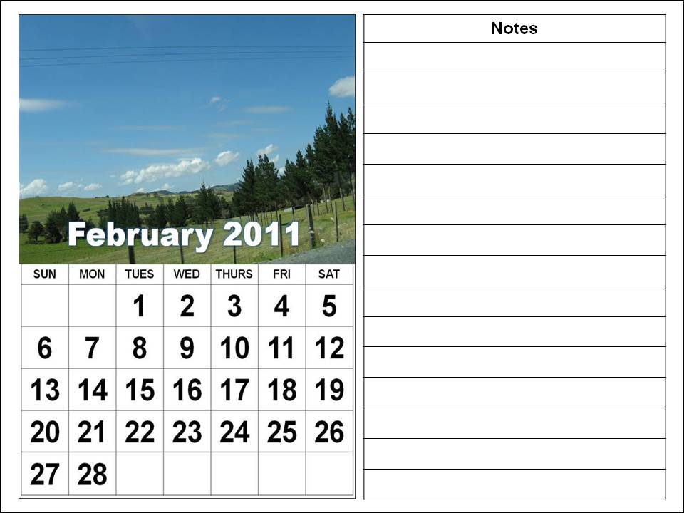 Printable February 2011 Calendar with big fonts and notes spaces