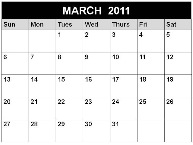 March Calendar 2011 Template