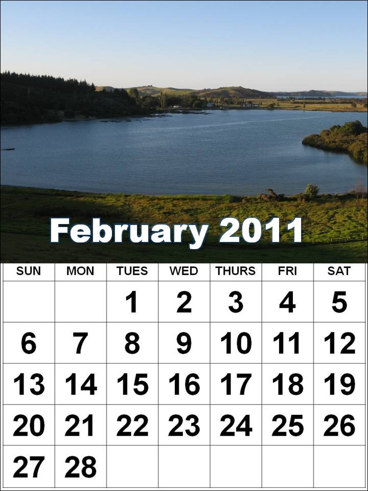 Preview of February 2011 printable calendar - Landscape layout:
