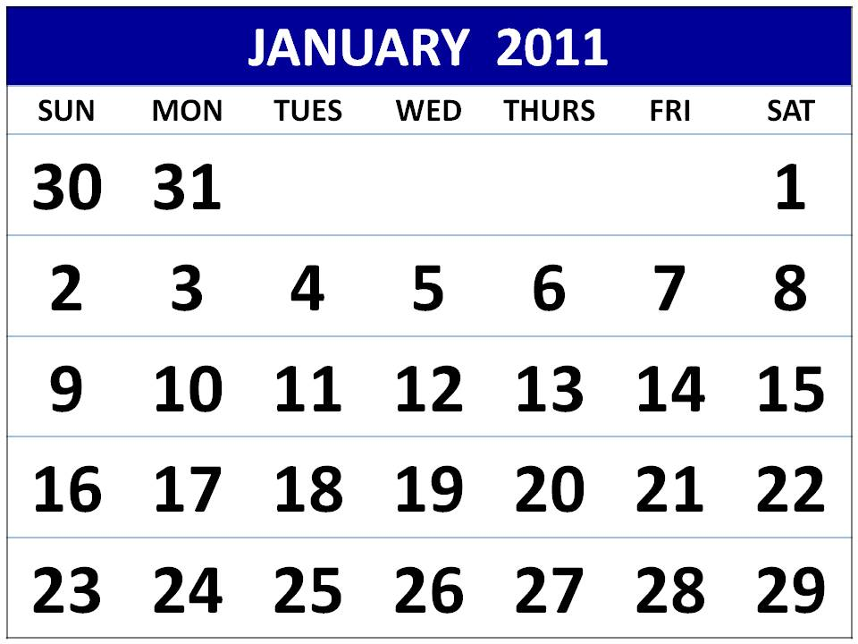 Free Homemade Calendar January 2011 Printable template