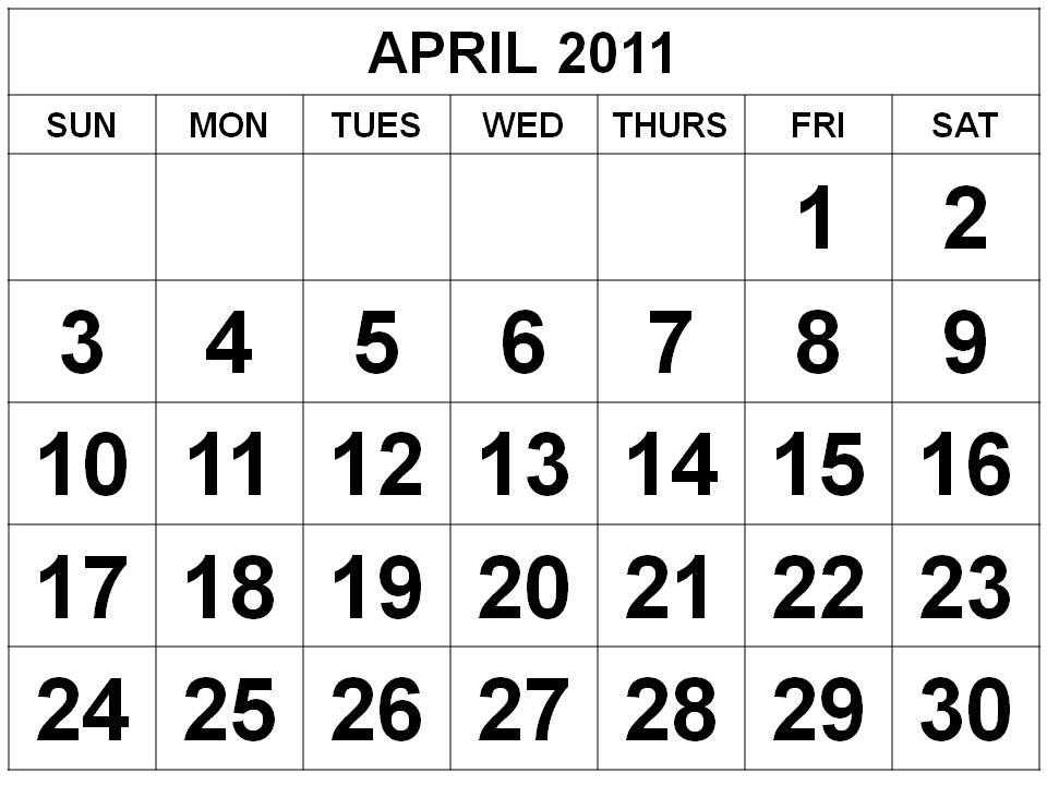 2011 calendar march april. february march march april