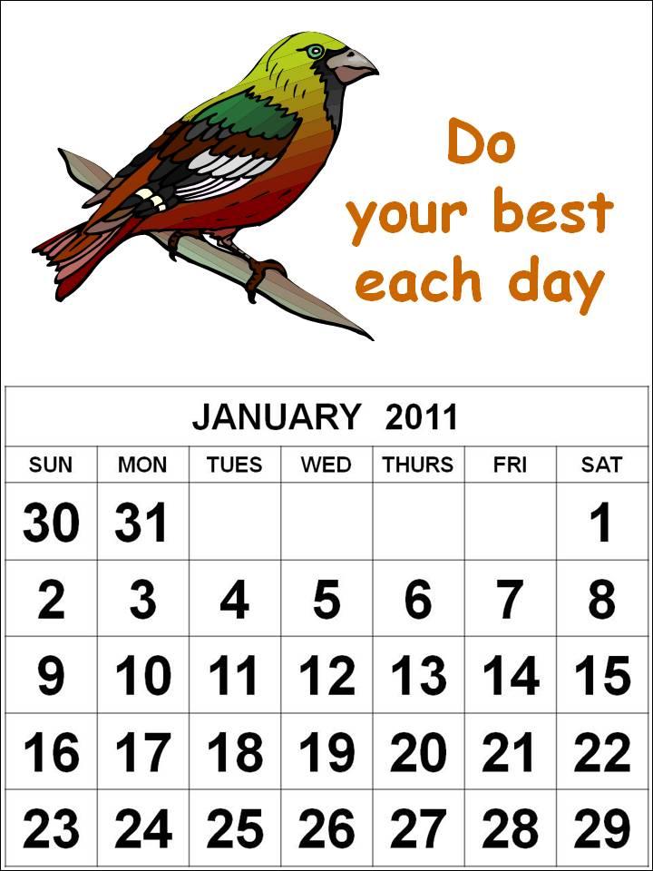 calendar january 2011. CALENDAR OF JANUARY 2011