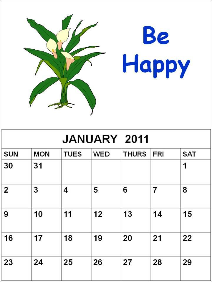 january calendars. Blank Calendar 2011 January or