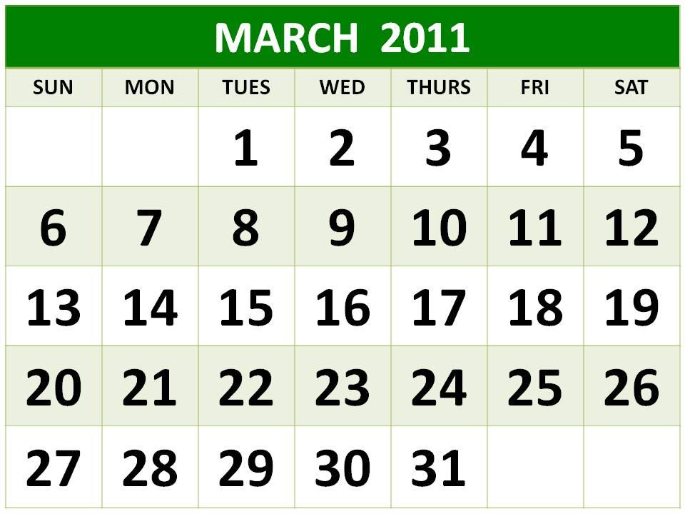 2011 calendar template. 2011 calendar template march.
