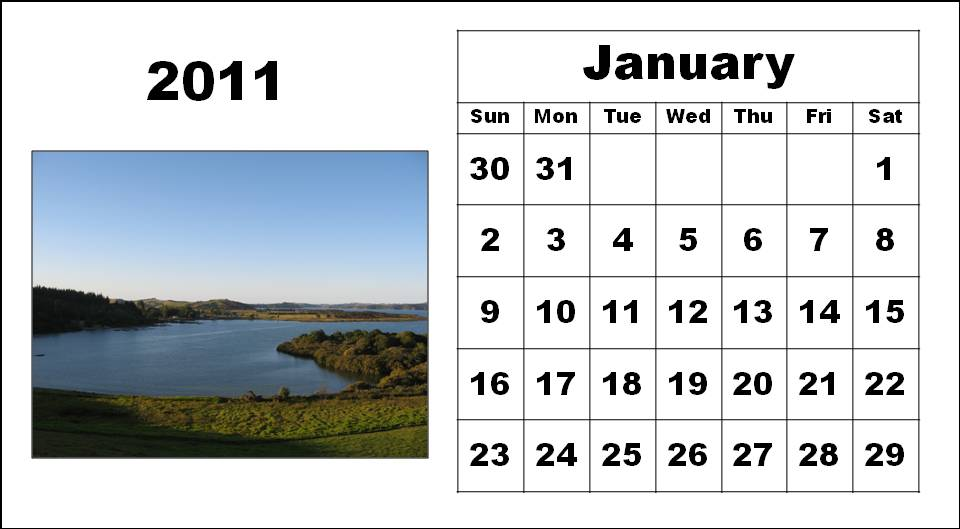 To download and print these Free Big Monthly Calendar 2011 January with big
