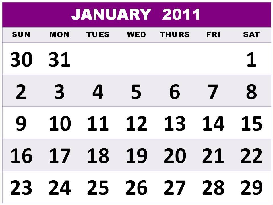 2011 calendar printable january. January 2011 Calendar Blank.