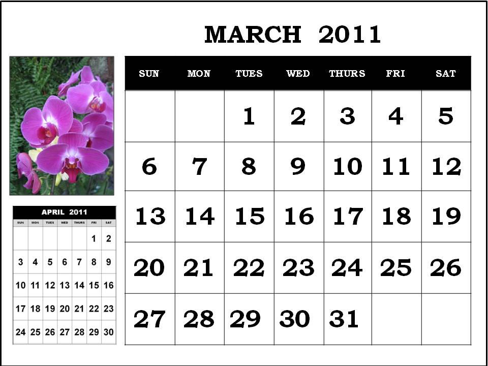 free printable calendars march 2011. +calendar+of+march+2011