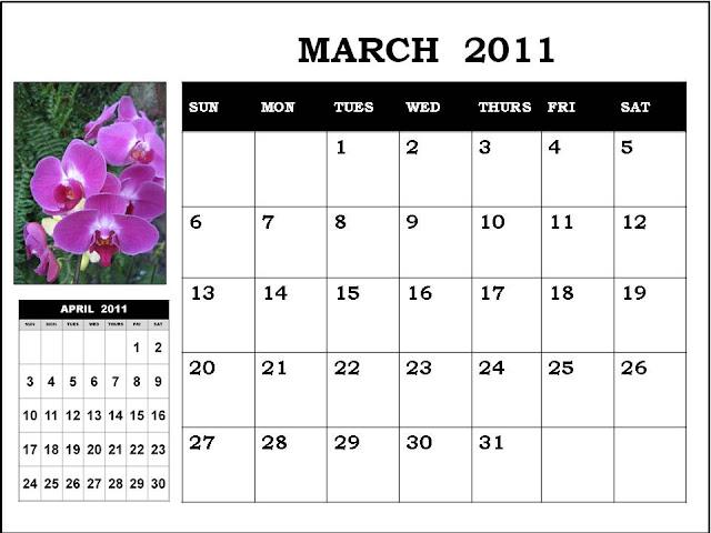 daily calendar march 2011. march blank calendar