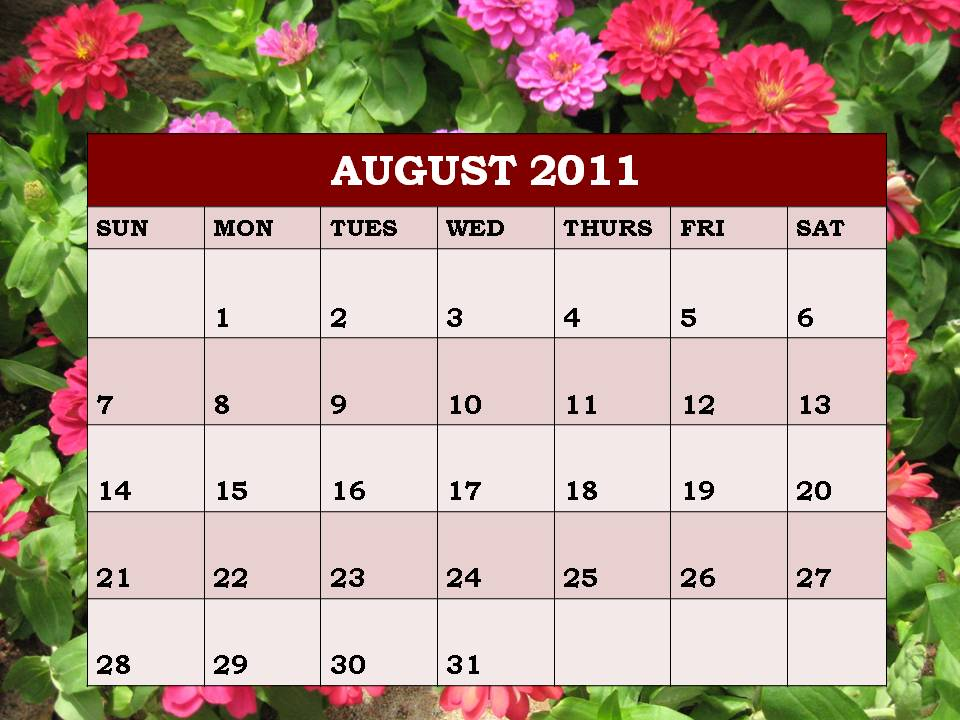 blank calendar 2011 august. August 2011 Calendar and Planner Aug 2011 printable templates