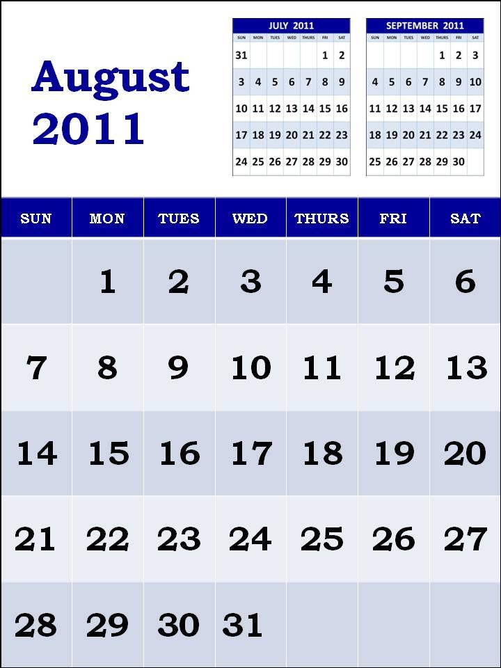 printable august 2011 calendar. August printable calendar