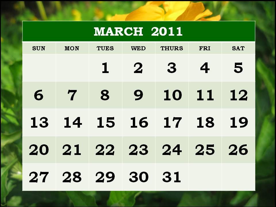 wallpaper 2011 calendar march. blank march 2011 calendar