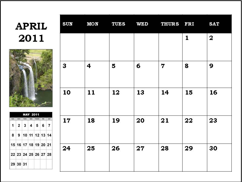 calendar 2011 april printable. Blank Calendar 2011 April or