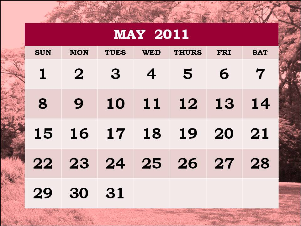 may calendar 2011 template. PRINTABLE CALENDAR 2011 MAY