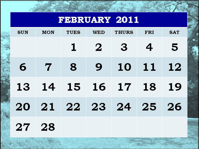 monthly calendar 2011 february. Free Printable February 2011