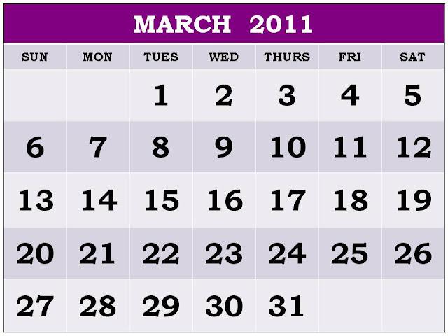 march 2011 calendar printable. MARCH 2011 CALENDAR PRINTABLE